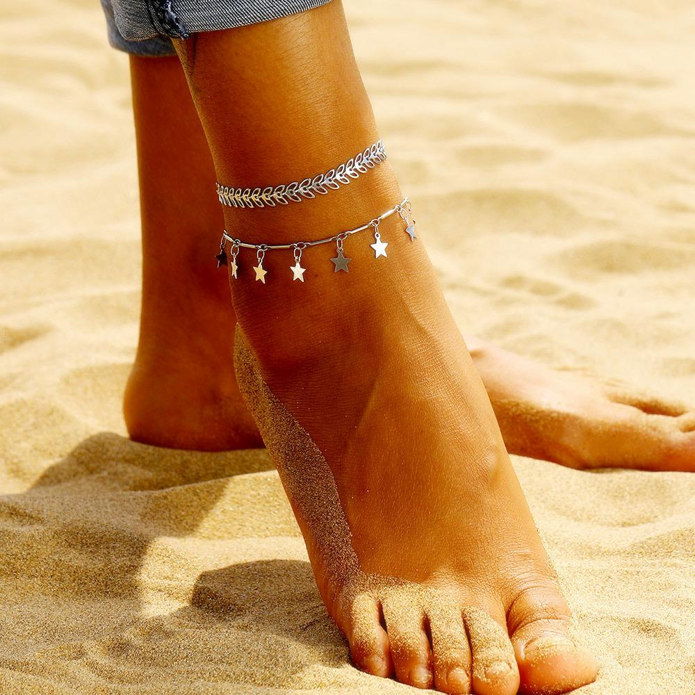 Fashion Silver Leaf Anklet Set Bohemia Arrow Star Anklet Bracelet For Women Summer Beach Barefoot Sandals Foot Jewelry Leg Chain