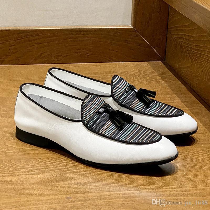 الإيطالي الرجال عادية أحذية جلدية الأعمال ذكر اللباس متعطل مريحة رجل القيادة حذاء مسطح أحذية الزفاف مصمم التدخين النعال
