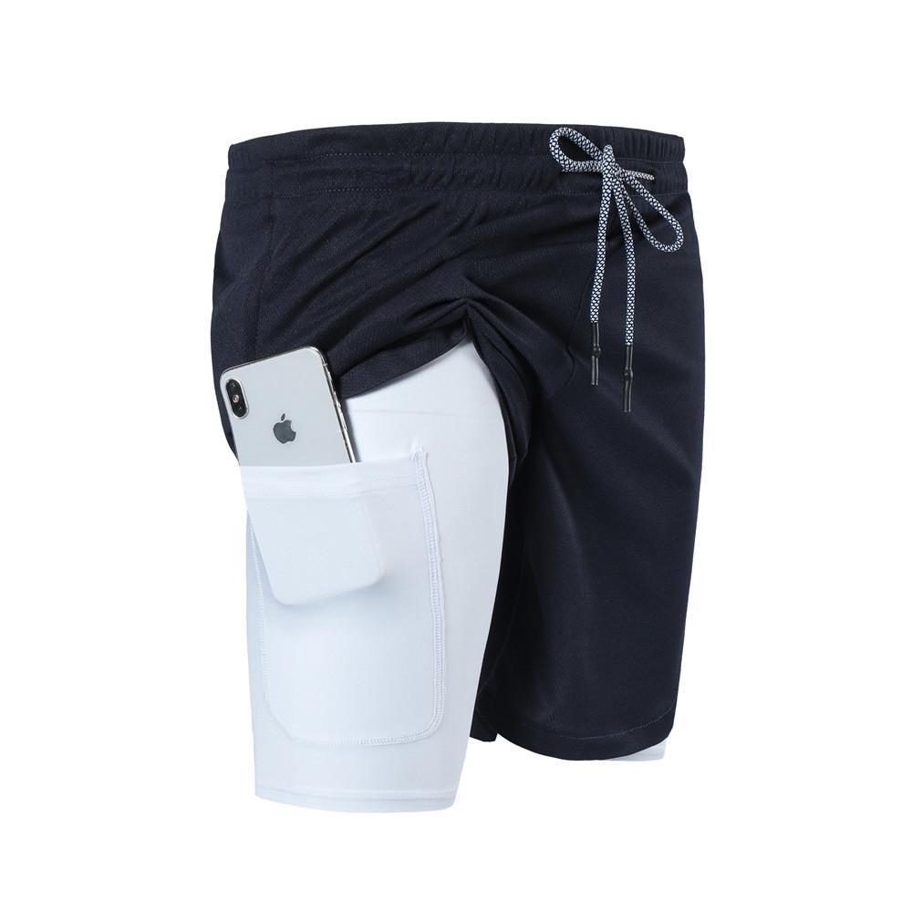 Multi-bolsillo con cremallera hombres Joggers cortos para hombre 2 en 1 de los pantalones cortos gimnasios de fitness entrenamiento de culturismo masculino de secado rápido shorts de playa Y200108