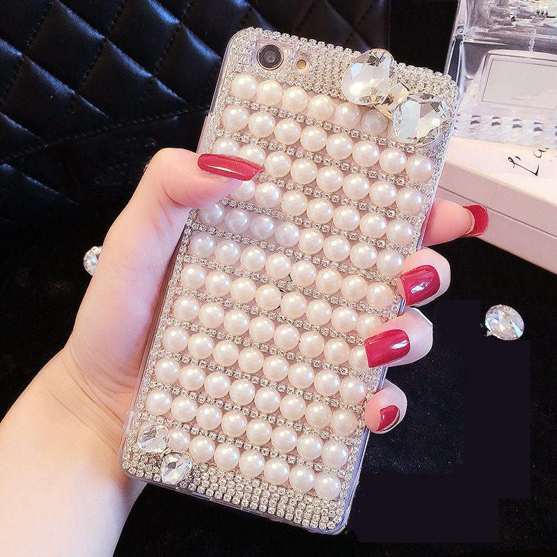 wholesale For Xiaomi 5s 5X 6 Max 2 3 Redmi Note 4 5A Prime Prime Plus 2S Pearl Bow Phone case Shine Soft Rubber Diamond Back Cover
