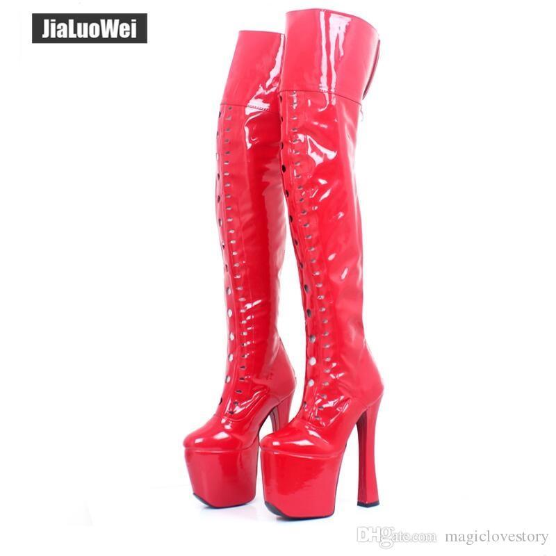 Nuovo tacco alto Sexy Over The Knee Coscia alta Stivali da moto Donna Stiletto Piattaforma Stretchy Boot Plus size scarpe per uomo cosplay 20cm