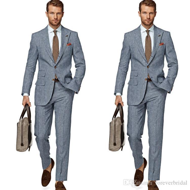 2019 Custom Made Smoking Do Casamento Dois Botões Repicado Lapela Noivo Desgaste Formal Dos Homens Consideráveis Blazer Ternos (Jacket + Calças)