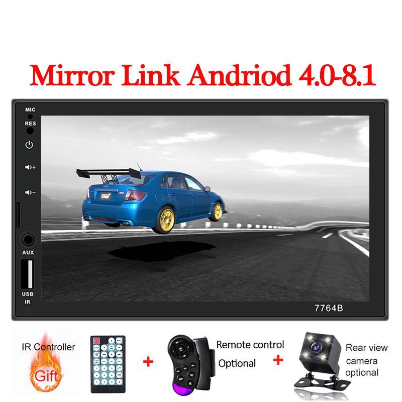 2DIN راديو السيارة 7 بوصة تعمل باللمس مسجل mirrorlink الروبوت لاعب 2 DIN MP5 لاعب Autoradio بلوتوث للرؤية الخلفية شريط كاميرا
