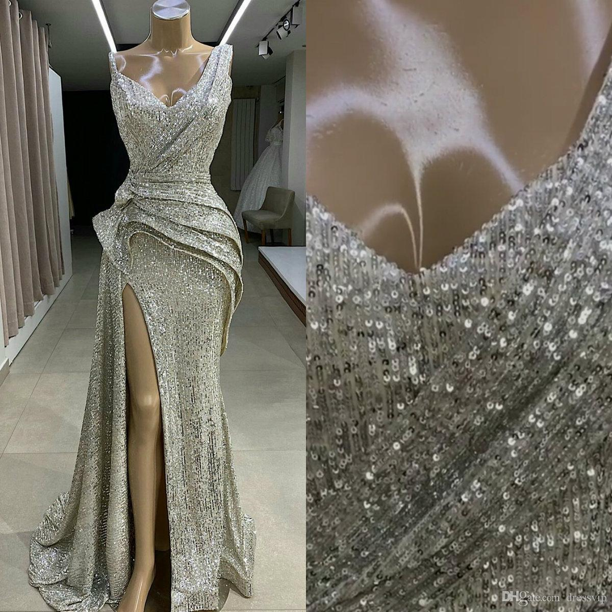 2020 Silver Sequined Evening Dresses V Neck A Line High Split Sexy Prom Dress Sweep Train Custom Made Special Occasion Gowns