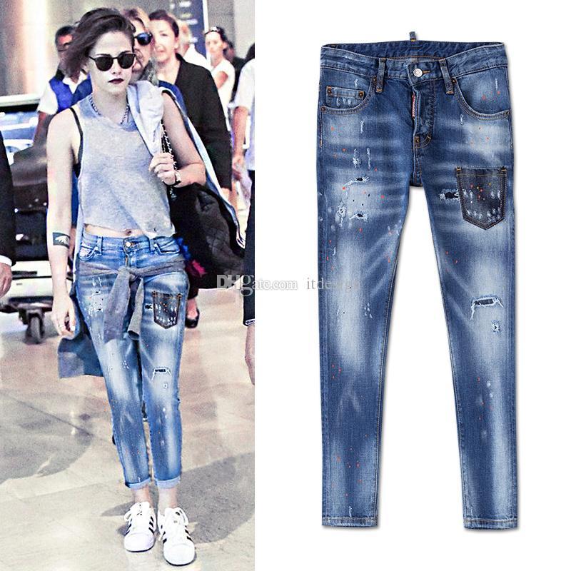 Cool Girl Sexy Jeans 2020 bajo la cintura apliques patchwork piernas flacas apenada Fading mujer joven de la vendimia