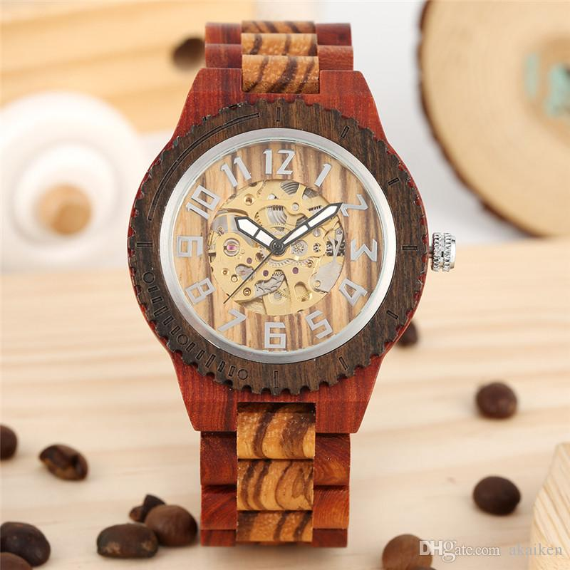 Classical Sandalwood Wooden Watches Men Automatic Mechanical Watch Skeleton Watches Arabic Number Dial Full Bamboo Band Relogio Masculino