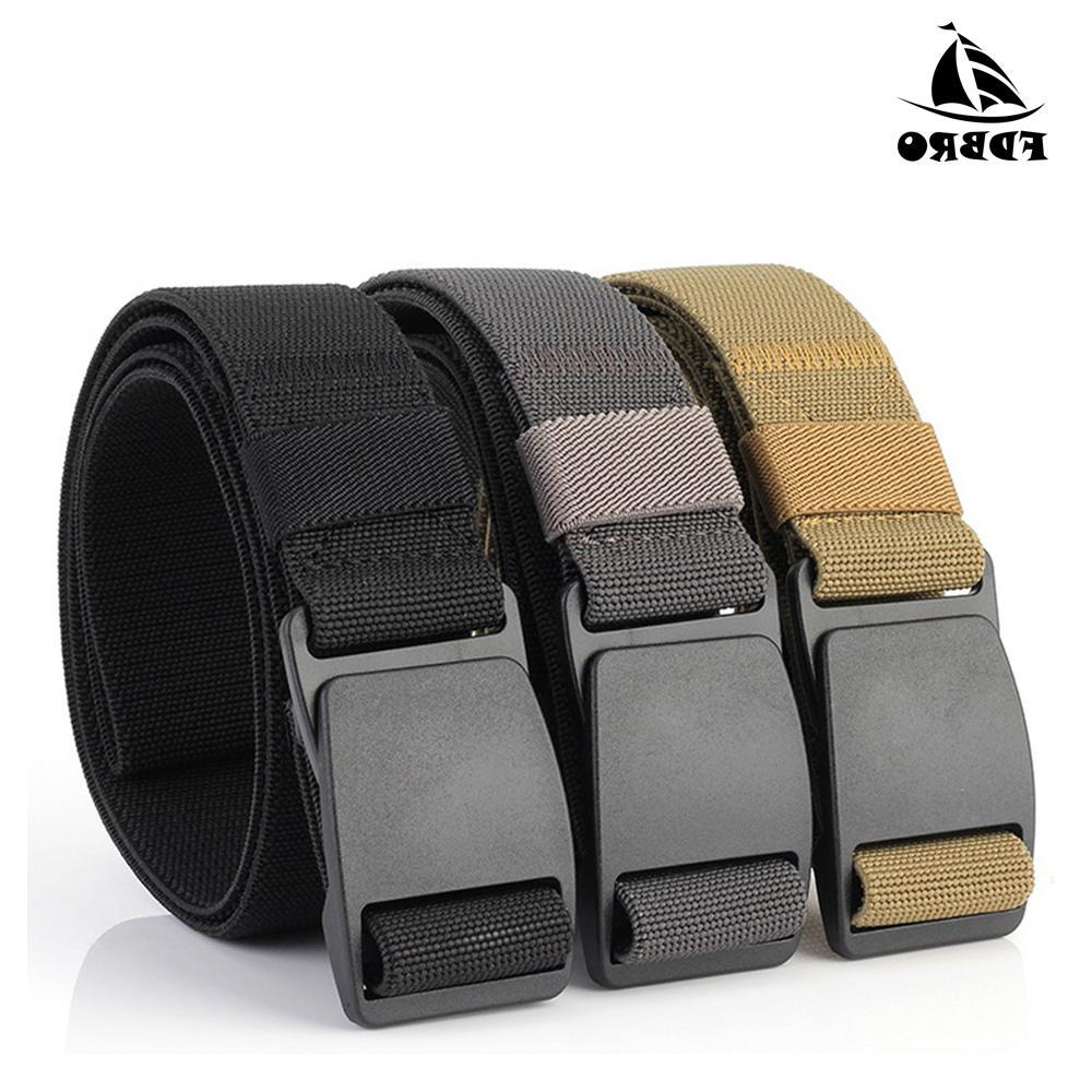 Calidad Fdbro táctico Cinturón Hombres Mujeres calidad de Hight plástico hebilla de acero correa de lona del hombre pretina elástico Cinturones Casual Unisex