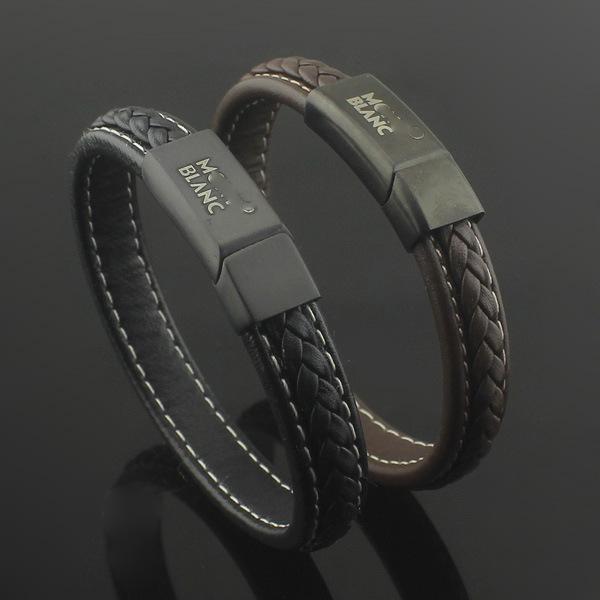 Горячее надувательство Монт сетка круглый бренд пряжка мужская двойной тканый кожаный веревочный браслет большой мужской браслет
