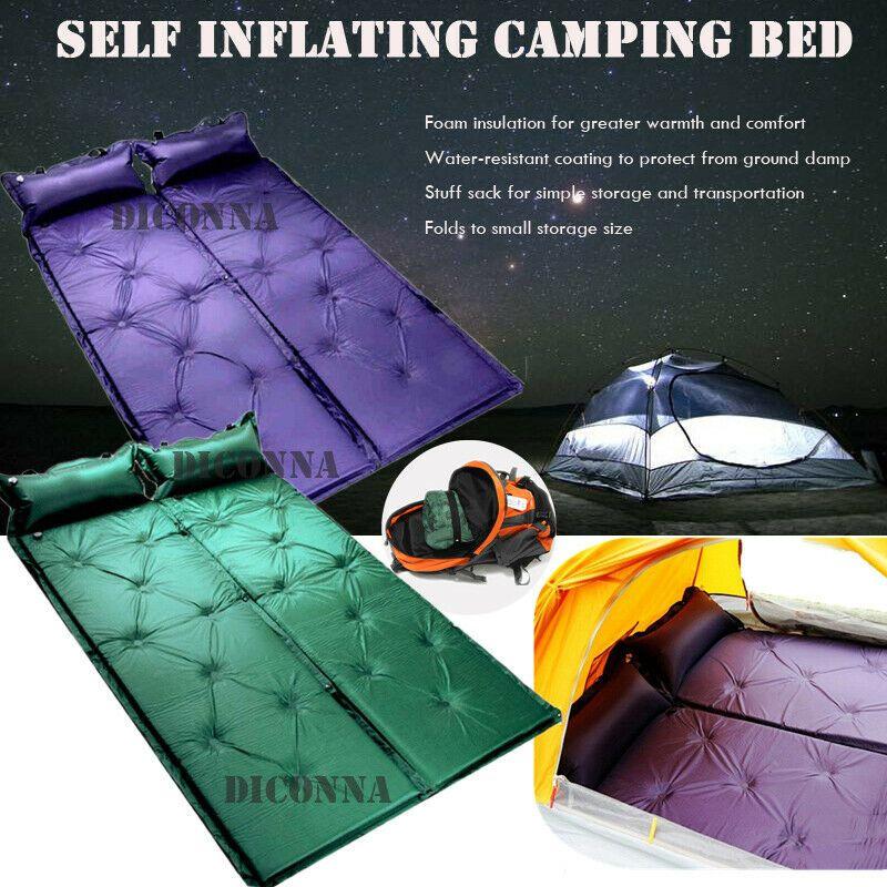 Self-Inflating Camping Pad Pillow Cot Bad Sleeping Bag Camp Mattress Air Mat Top