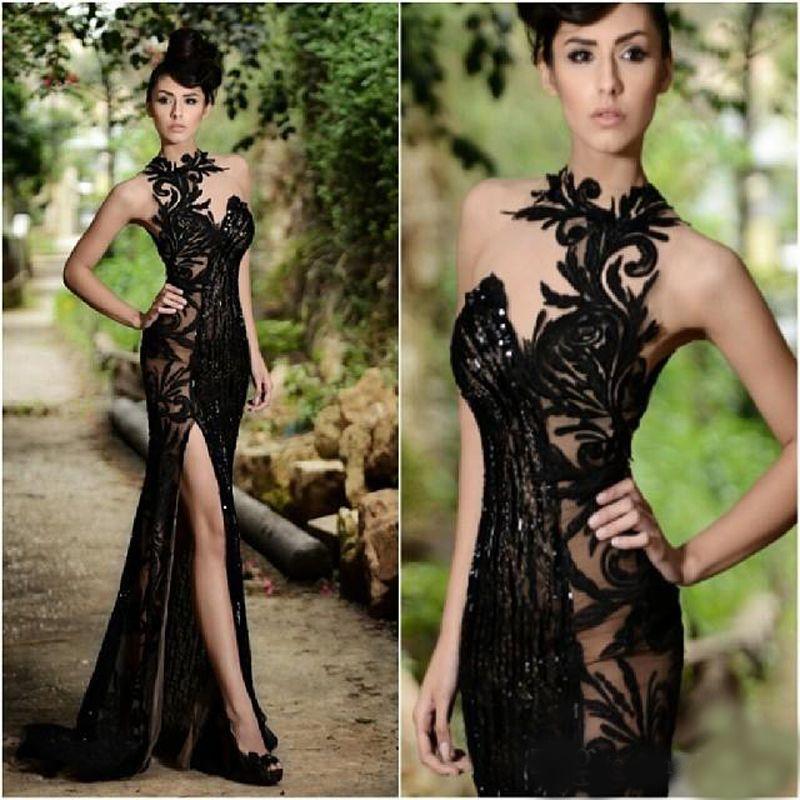 Soirée élégante perles de Split robes Rami Salamoun Appliqued col montant sirène Paillettes longue robe de bal des images réelles de robes de soirée pas cher