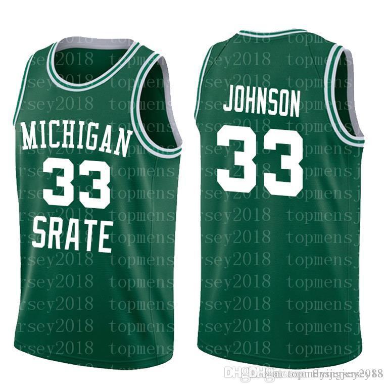 NCAA штата Мичиган спартанцы 33 Ирвин Джонсон Магия Зеленый Белый Колледж 33 RRY High School6655655