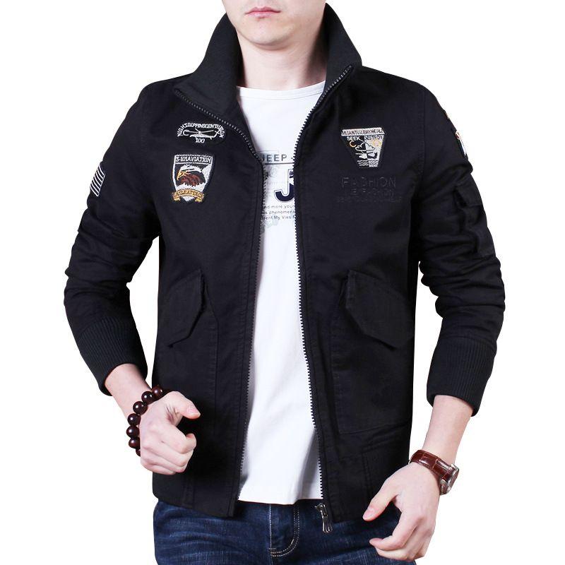 Men's Jacket Print Lapel Zipper Solid Color Casual Large Size Cotton Washed Jacket Black 4XL