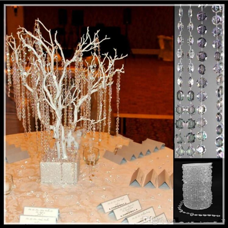 66 Feet Per Roll Transparent Acrylic Crystal Beads Garland Strand Wedding Decoration Curtain Chains DIY Craft Ornament Party Supplies