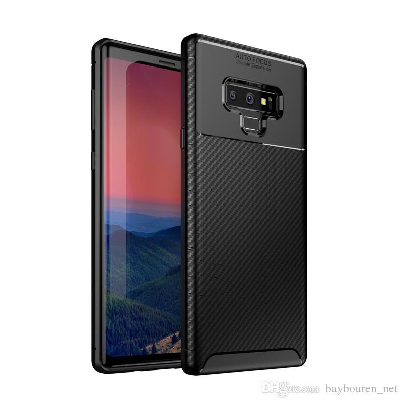 TPU Téléphone couverture en fibre de carbone anti-choc Téléphone Case givré Concise téléphone portable Housse de protection arrière pour Samsung note 10
