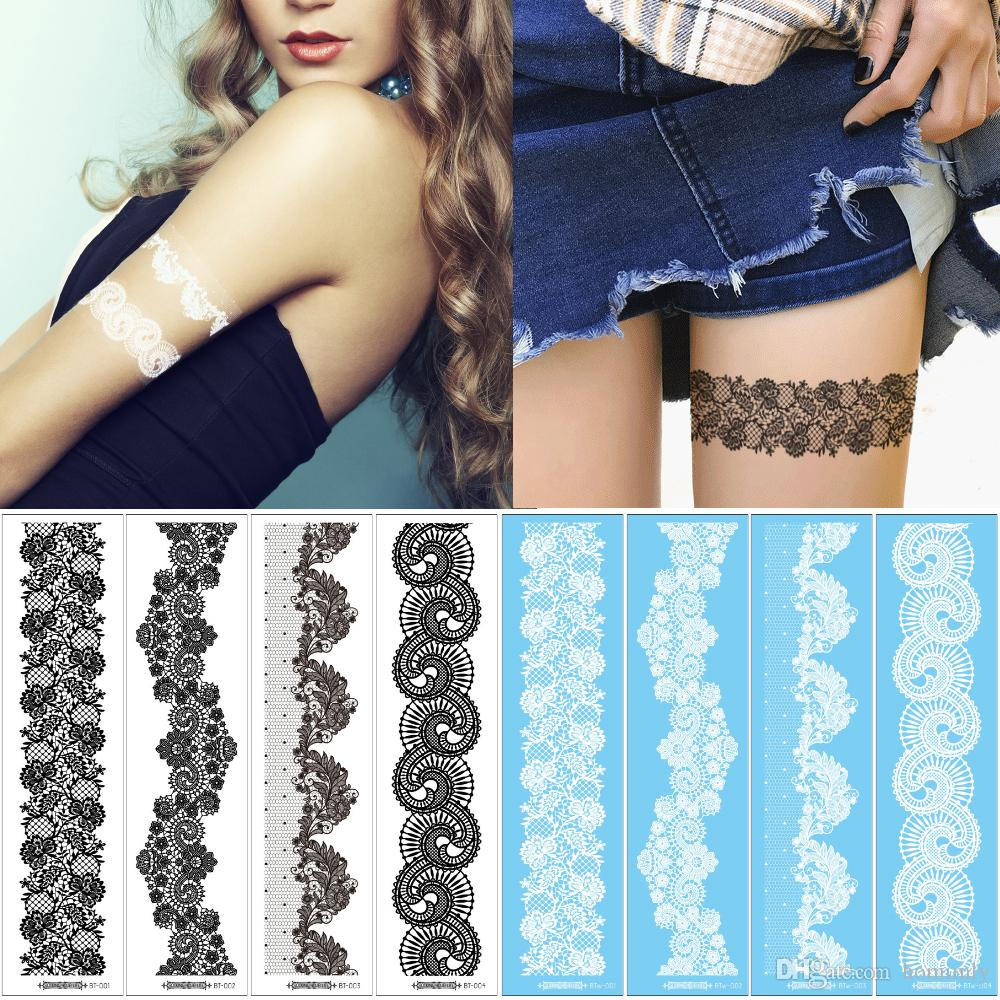 6*24cm BT Beauty White Black Henna Lace Temporary Tattoo Sticker Wrist Leg Stocking Water Transfer Flower Tattoo Design Wedding Makeup Decal