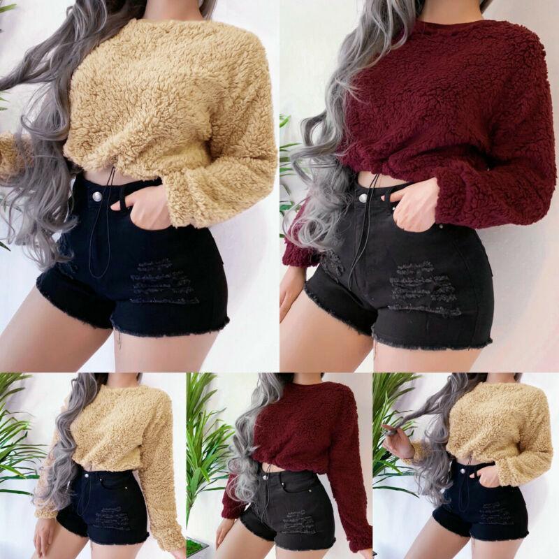 Женщины плюшевый мишка пушистый с длинным рукавом футболка свитер джемпер пуловер растениеводство топы зима теплая более 100 продаж