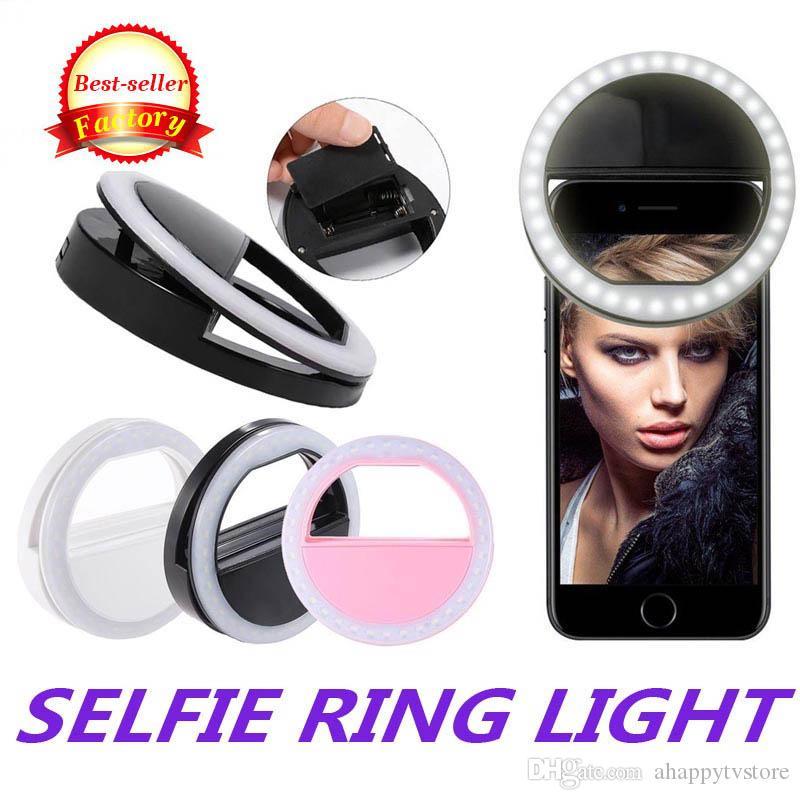 Perakende Box ile Evrensel Selfie'nin Işık Halkası LED Şarj Edilebilir Flaş Klip Kamera iP için 7 8 X HTC Samsung Telefonlar