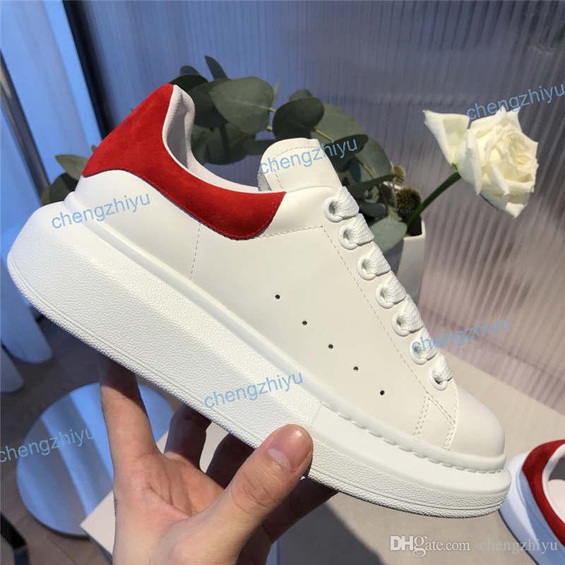 Moda Italia Uomo Donna Sneakers in pelle delle signore delle ragazze della flangia Wrap pattini casuali Classic Balck bianco puro Velet donne degli uomini con la scatola delle scarpe da tennis