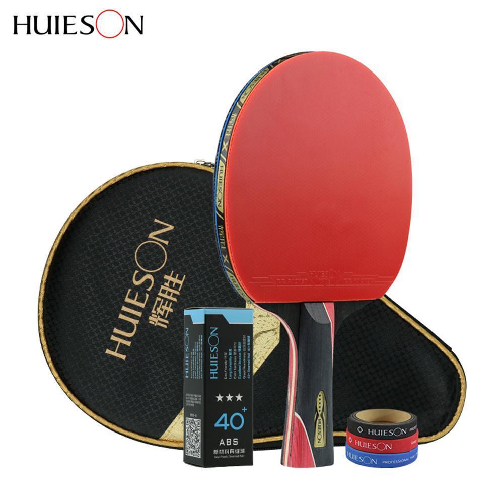 Huieson 5 звезд углеродного волокна настольный теннис ракетка двойной прыщи в резиновые ракетки для пинг-понга C18112001