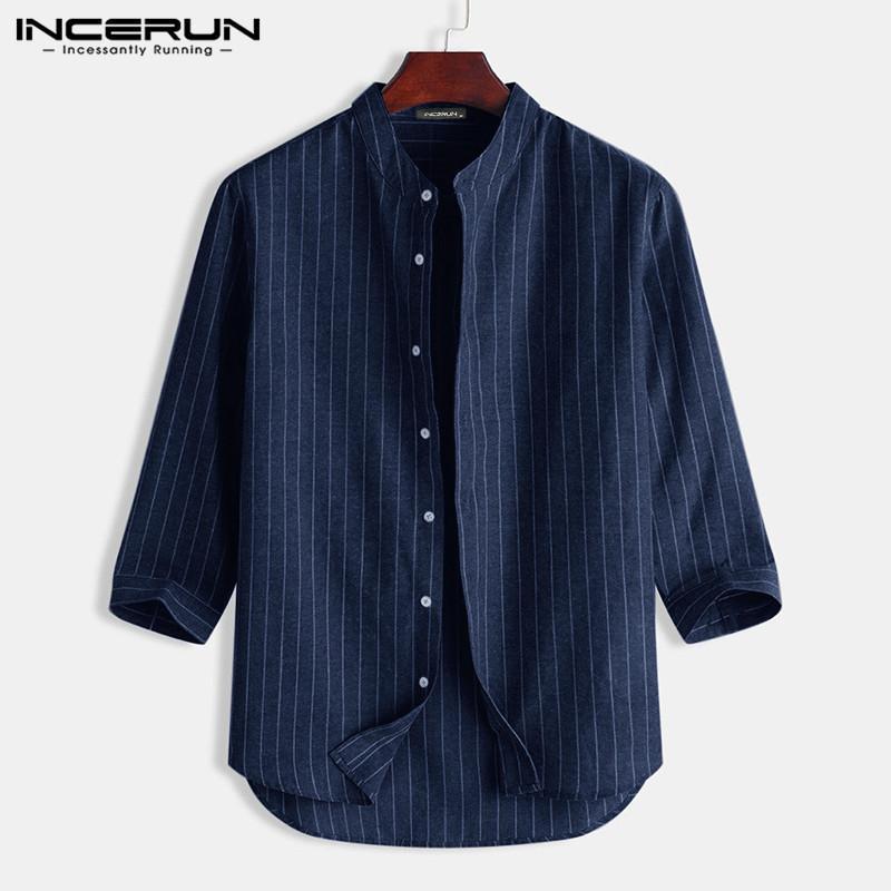 2020 Homens Casual camisa listrada Streetwear 3/4 gola Lazer Tops respirável Harajuku Camisa Masculina S-5XL INCERUN