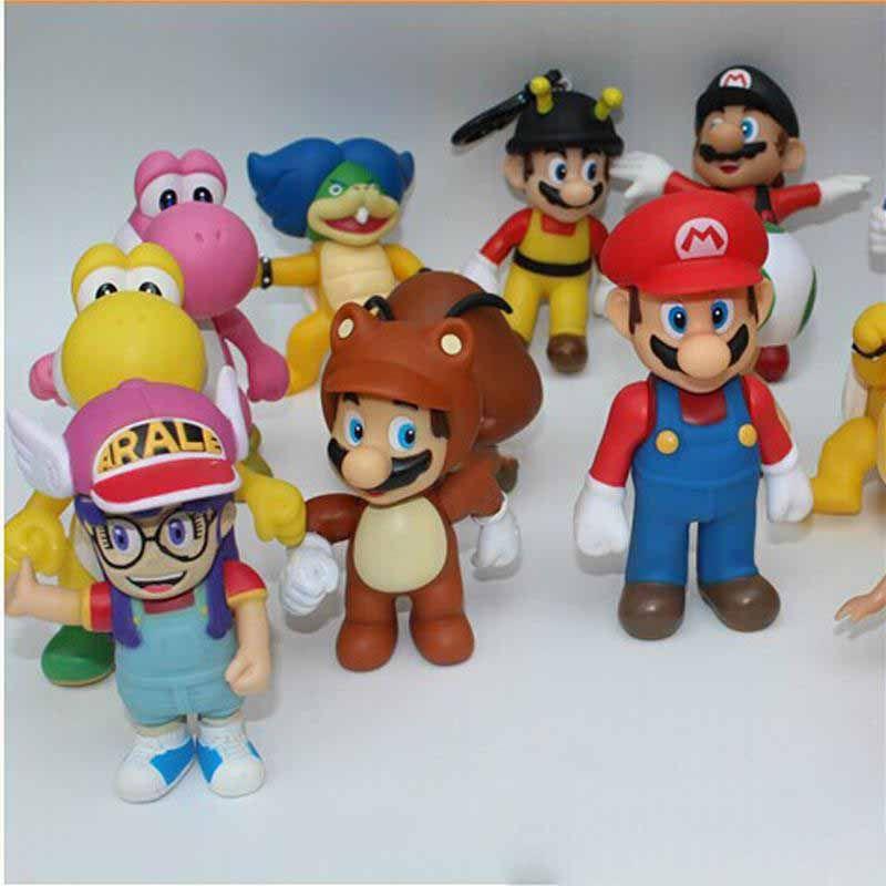 Mario Figures Игрушки Куклы 10Моделей Случайные 10 СМ Мультфильм ПВХ Фигурки Игрушки Каждая Кукла Идет с пакетом