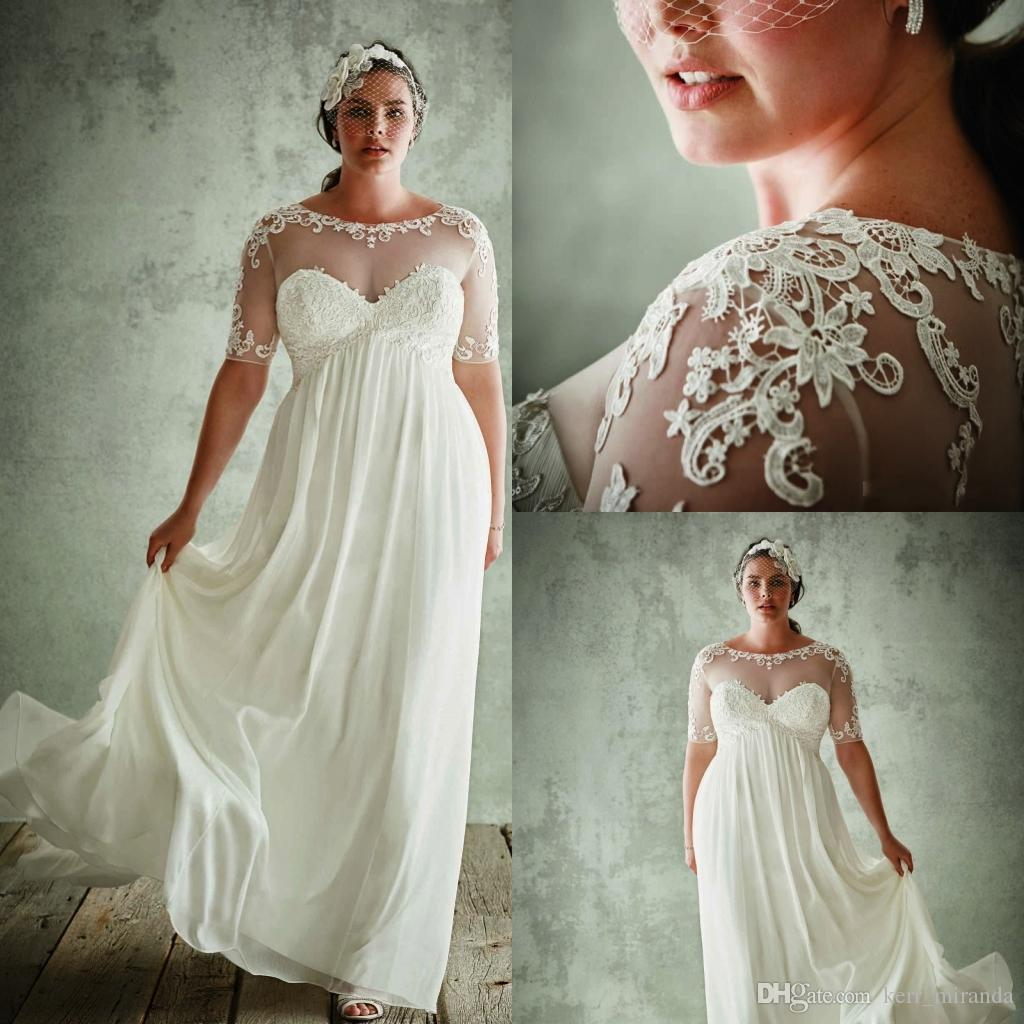 Plus Size Empire Waist Wedding Dresses With Sleeves Photos   Jahre ...