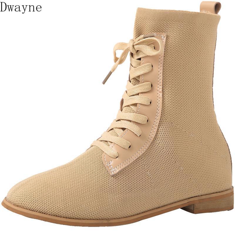 2019 Outono novas botas de moda feminina simples cor sólida malha de tecido elástico confortáveis botas casuais respirável