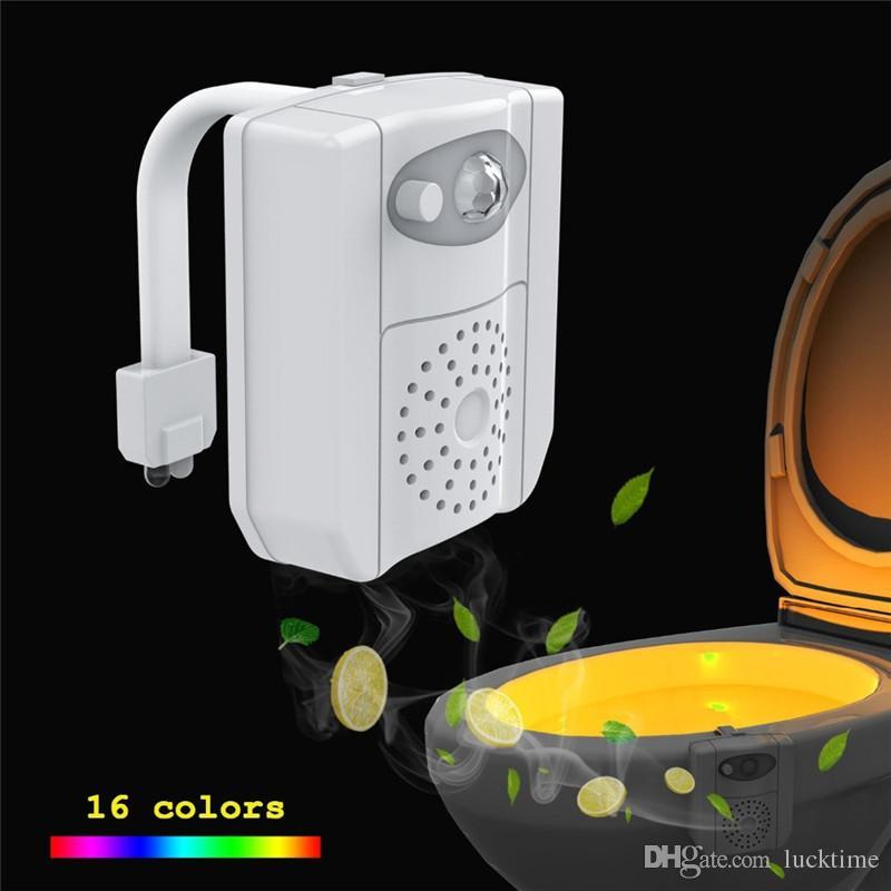 Smart PIR Motion Sensor Toilet Seat UV Disinfection Night Light 16 Colors Waterproof Backlight WC Toilet Bowl LED Aromatherapy Lamp