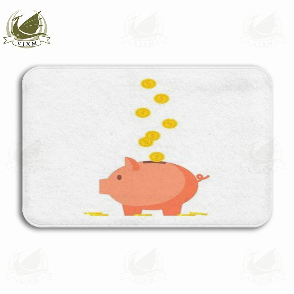 Vixm Toy Pig Piggy Bank In The Form Of An Investment Icon Idea Welcome Door Mat Rugs Flannel Anti-slip Entrance Indoor Kitchen Bath Carpet