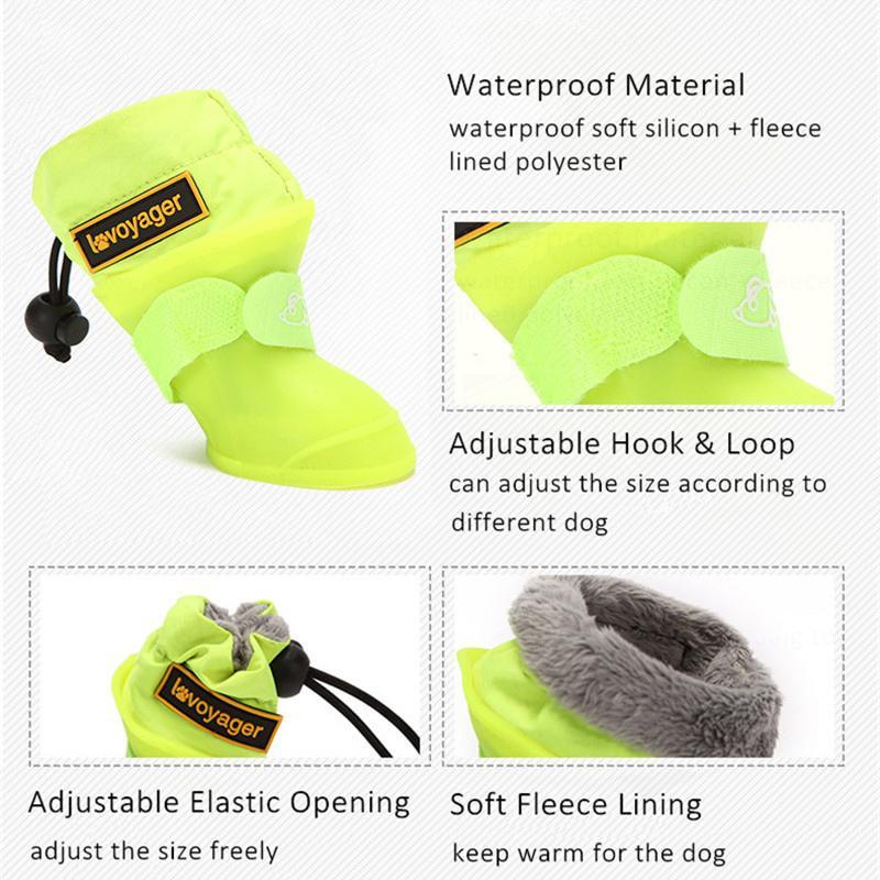 4pcs / Set Köpek Yağmur Botları Su geçirmez Köpek Yağmur Ayakkabı Polar Küçük Orta Köpekler Anti-Slip Ayarlanabilir Kauçuk Hayvan kar botları Çizgili