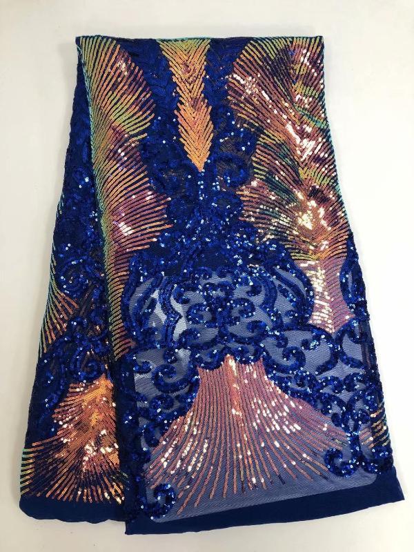 5 kilometre gleamy pul nakış Kraliyet mavisi Fransız Dantel Benzersiz Afrika tül Dantel Mesh kumaş Nijeryalı dikiş ulusal giysiler