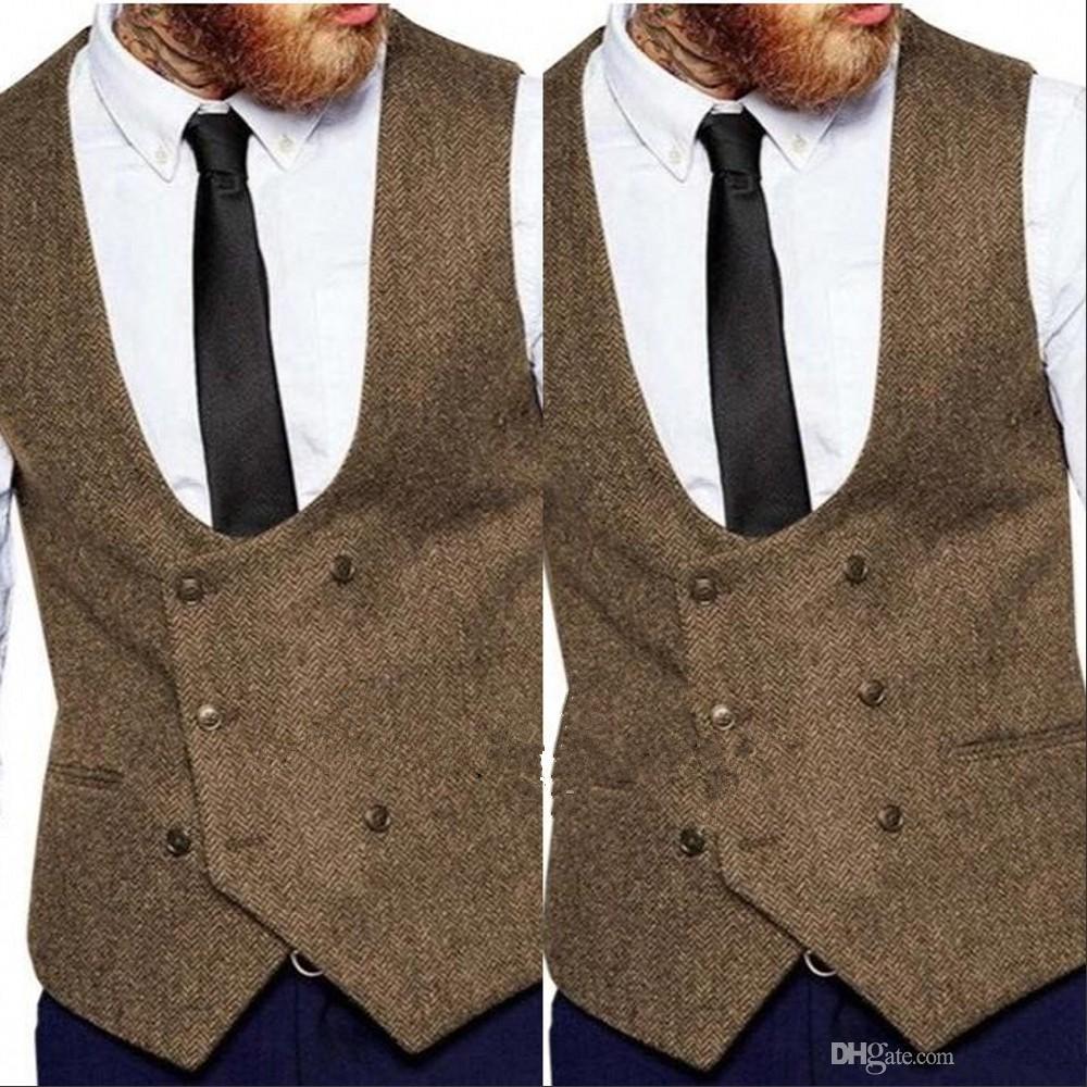2020 Brown Groom Vests Country Wedding Wool Herringbone Tweed Vest Slim Fit Men's Vest For Suit Dress Waistcoat Farm Groomsmen Attire