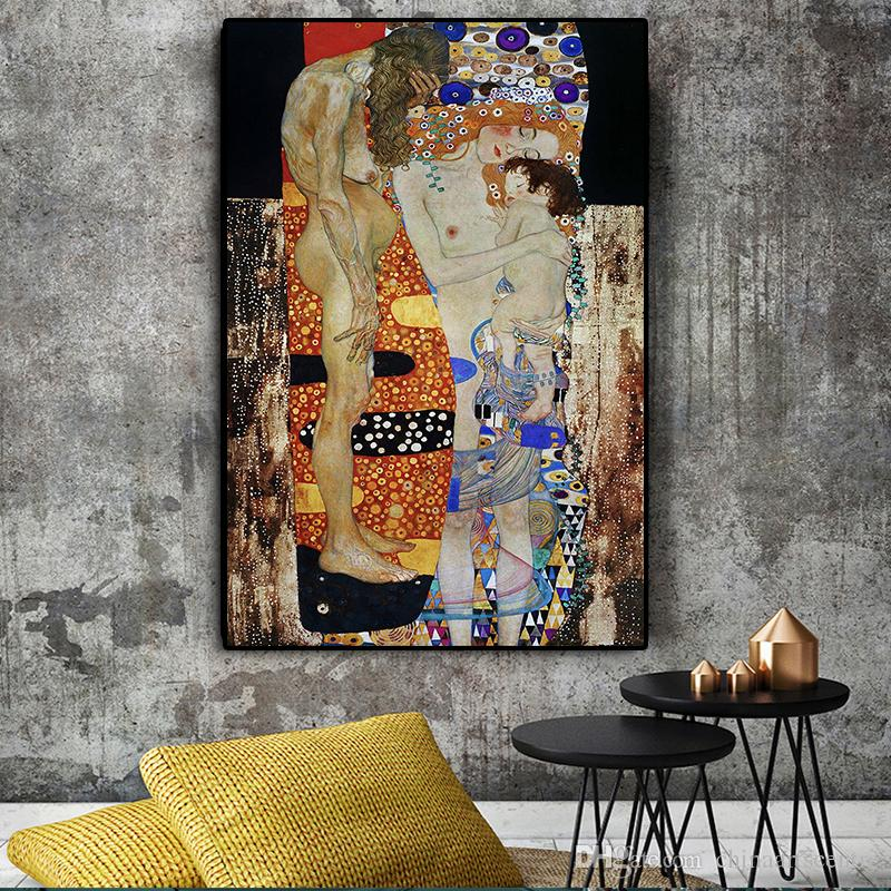 The Three Ages of Woman by Gustav Klimt Handpainted Classical Art Oil Painting On Canvas Wall Art Home Office Decor High Quality P170