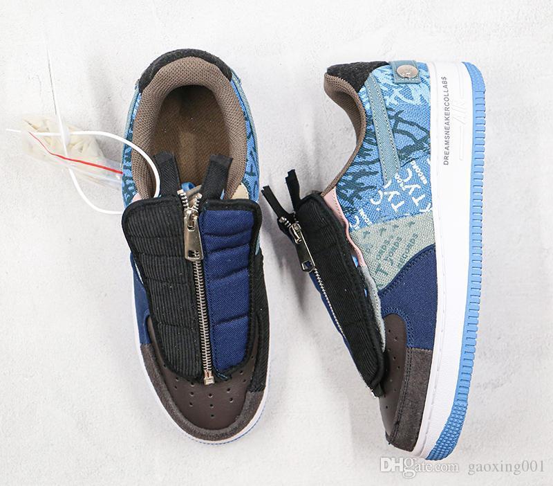 Travis Scott X Classic 1 Una terciopelo Multi color de los cordones de la cremallera TS YY zapatos de baloncesto de zapatos de diseño Hombres Mujeres Deportes