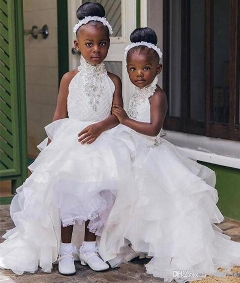 High Low Halter Flower Girl Dresses For Weddings Beads Sequins Tiered Skirt Girls Pageant Dress Organza Cute Kids Party Birthday Gowns