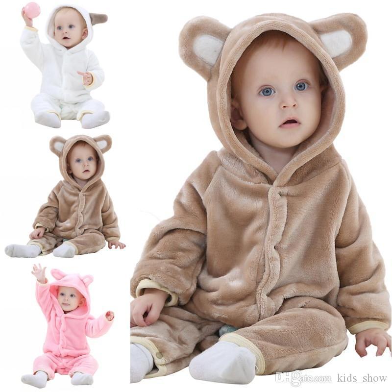طفل الكرتون الفانيلا الدب تأثيري رومبير بذلة معطف أطفال بنين بنات قطعة واحدة homewear تسلق الملابس طفل الشتاء الدافئة النوم