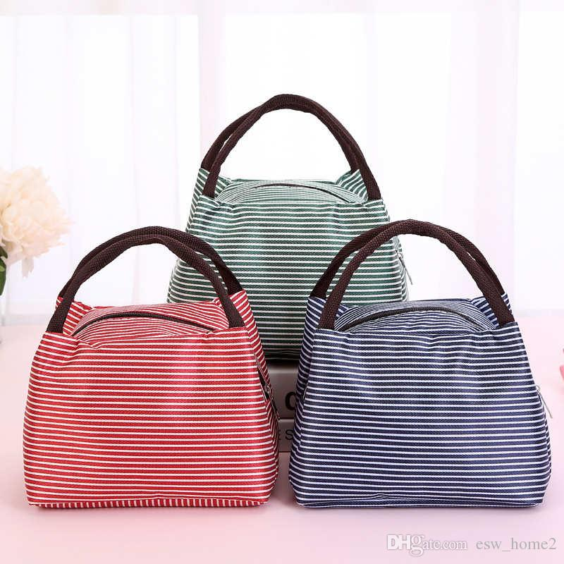 Striped Lunch Bag Bento Bags Insulated Cooler Food Picnic Lunch storage organizer Kids school Lunch Box pouch