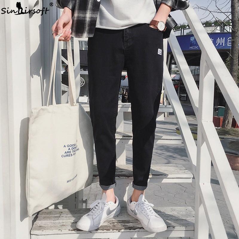 Casual Slim Mens Denim Ankle-length Pants High Waist Pencil Pants Cartoon Smile Pattern Streetwear Skinny Black Jeans Size 28-34