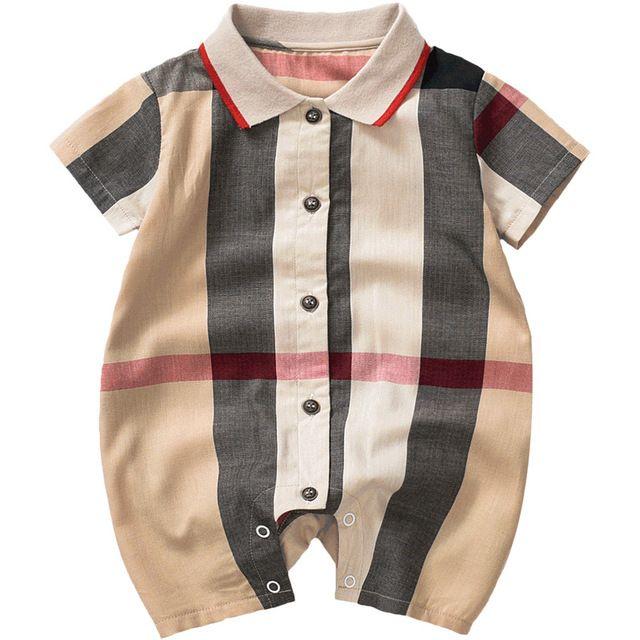Дизайнерский дизайн летнего малыша onesies новорожденного ползунка хлопка плед ребенка с коротким рукавом одежды комбинезон хаки 0-8 месяцев