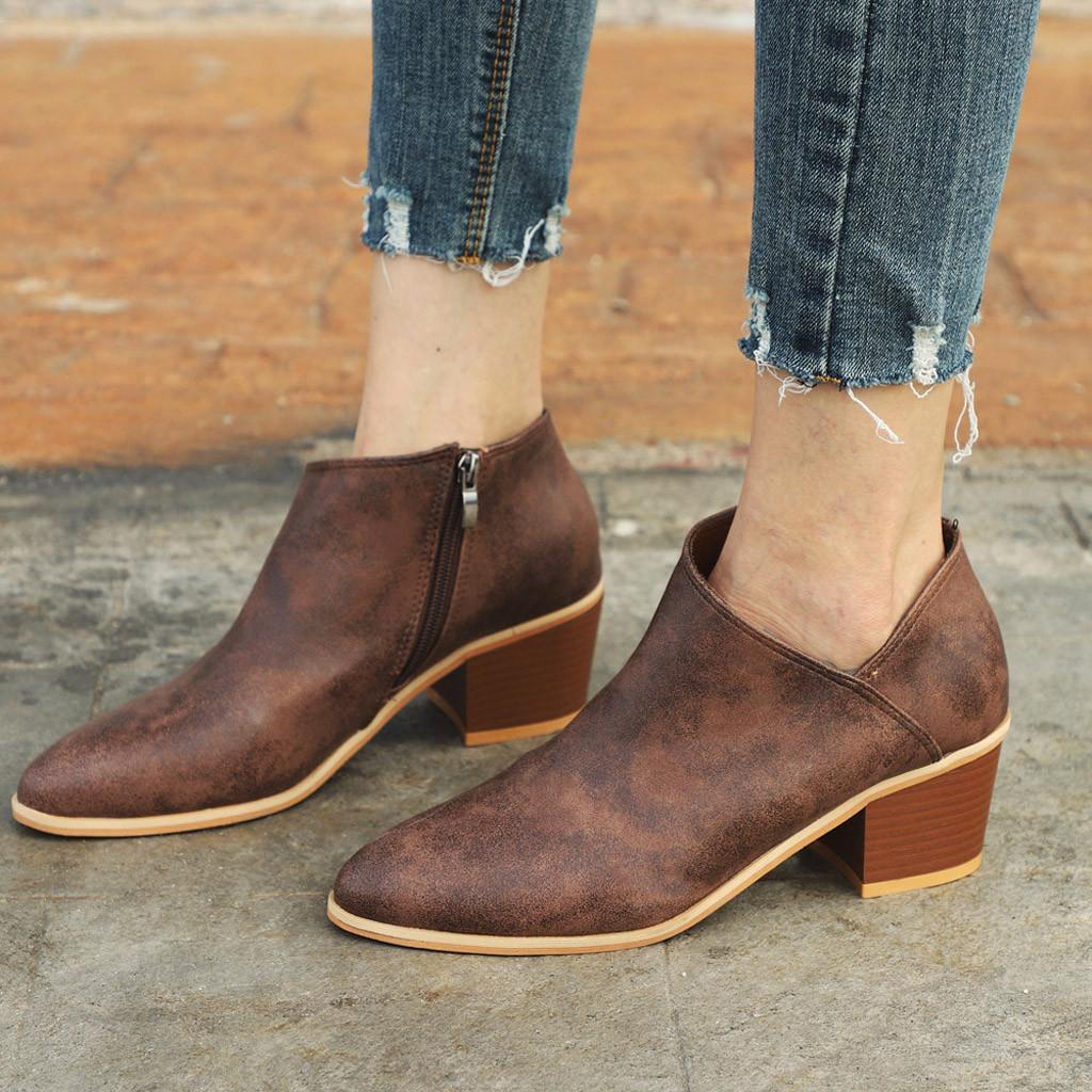 أزياء المرأة الحذاء عالية الكعب أحذية واحدة السوستة الجانبية قصيرة الأحذية النسائية الخريف الشتاء السيدات أحذية