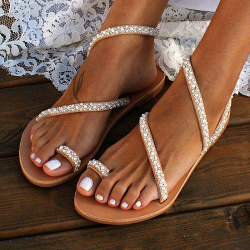 Boho Pearl Decoration Сандалии Летние Плоские Сандалии Сладкие Женщины Пляжный Песок Праздничная Обувь Кожаные Квартиры Плюс Размер