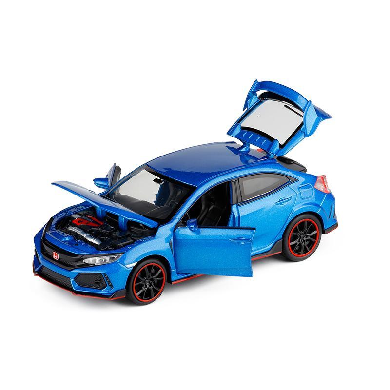 Coleção New 01:32 HONDA CIVIC TYPE-R Diecasts Veículos de brinquedo modelo de carro com luz de som do carro brinquedos para as crianças Brinquedos presente Y200109