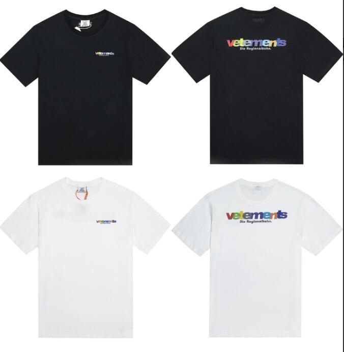 caliente nueva Vetements metal caramelo del arco iris camiseta de manga corta de la calle principal Hombres Mujeres verano ocasional de la calle monopatín hip hop camiseta