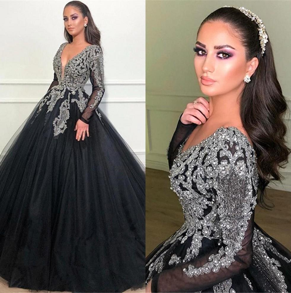 Luxury Arabic Black Long Evening Dresses Dubai Sheer Long Sleeves Beaded Stones A Line Floor Length Formal Party Prom Gowns BC1369