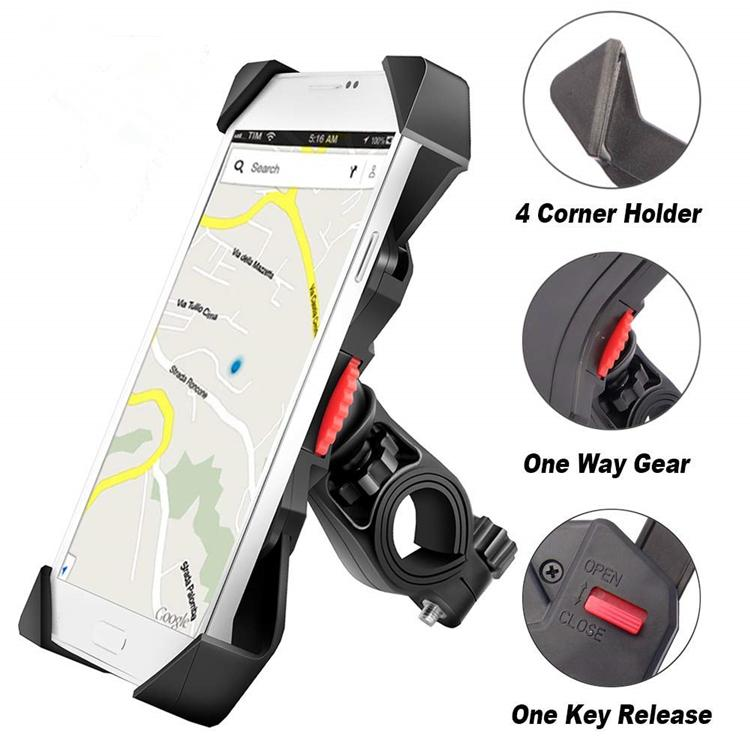Universal Bicycle Motorcycle Cell Phone Holder Adjustable Bike Phone Mount for Samsung Galaxy S9/ S10/ S8