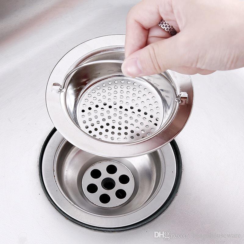 Kitchen Sink malha filtro de drenagem Piscina Sink Colanders esgoto Stainless Steel Net Filtro banheiro Sinks filtro portátil Sink Strainer BH2418 TQQ