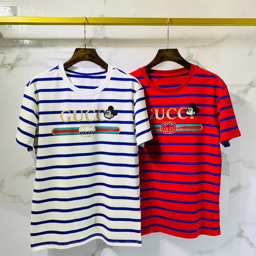 Los hombres al por mayor de 2020 el verano del diseñador para hombre de la camiseta del estilo europeo de terciopelo camiseta de cuello redondo de algodón de manga corta masculina y femenina T-shirts519