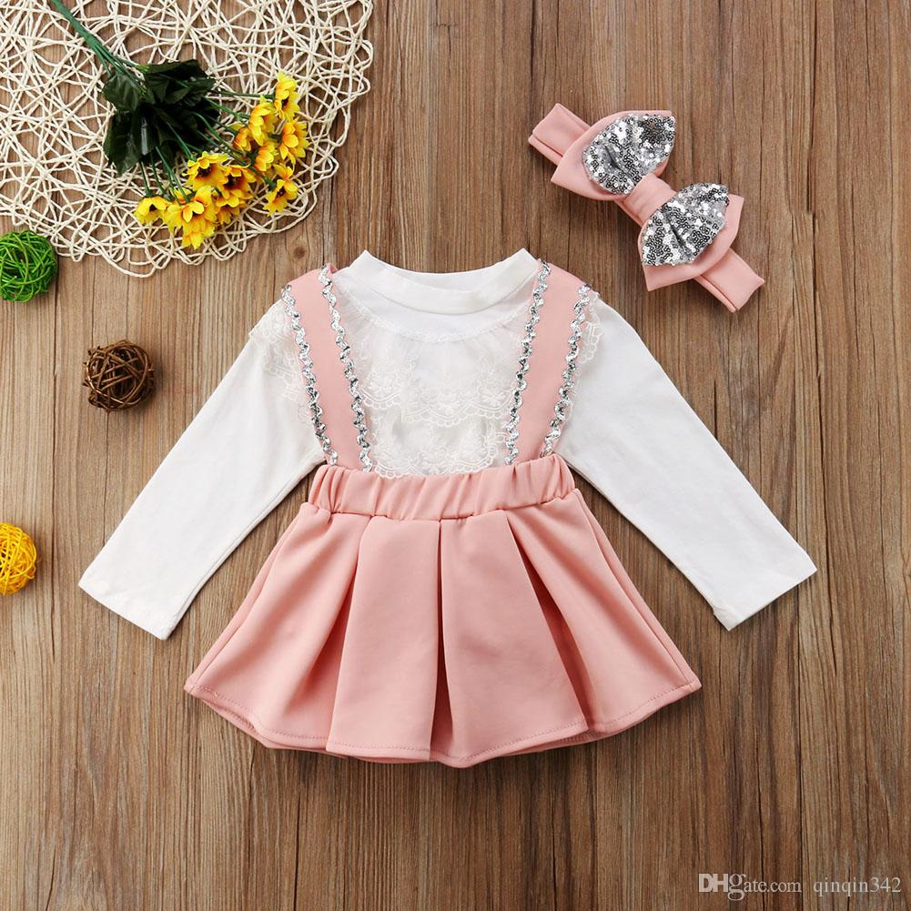 3PCS Toddler Kids Baby Girls Clothes Tops+Strap Skirt Dress Party Outfits Set UK