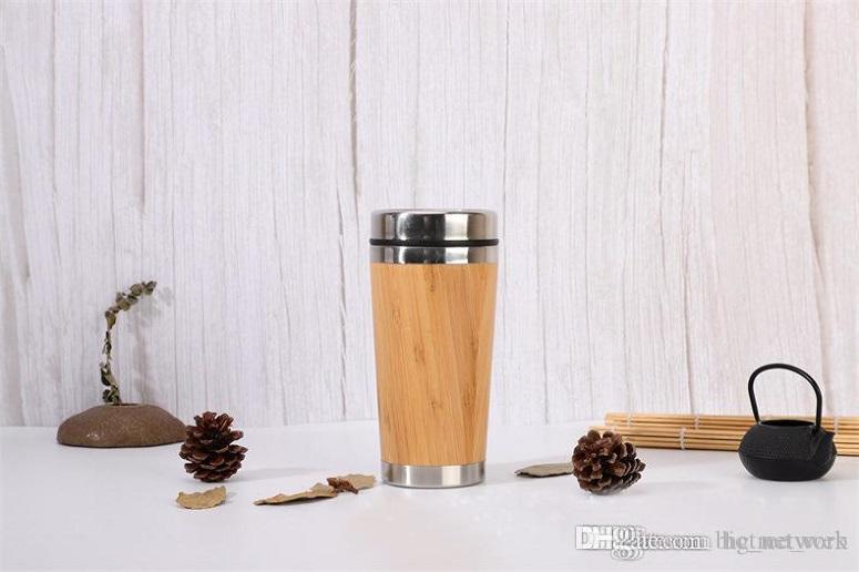 450ml Bambus Becher Bambus Shell-Wasser-Schal Bambus-Reise-Becher Tee-Ei Thermos-Reise-Becher Bottle Insulated Cup