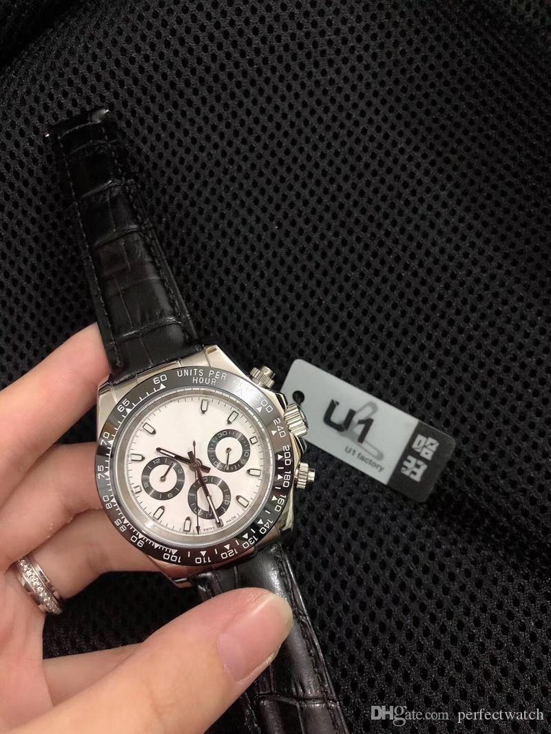 Vendita calda Mens Watch 40mm Semplice oro bianco 216L acciaio inox 2813 automatico 2813 Movimento macchina cinturino in pelle cinturino uomo orologi